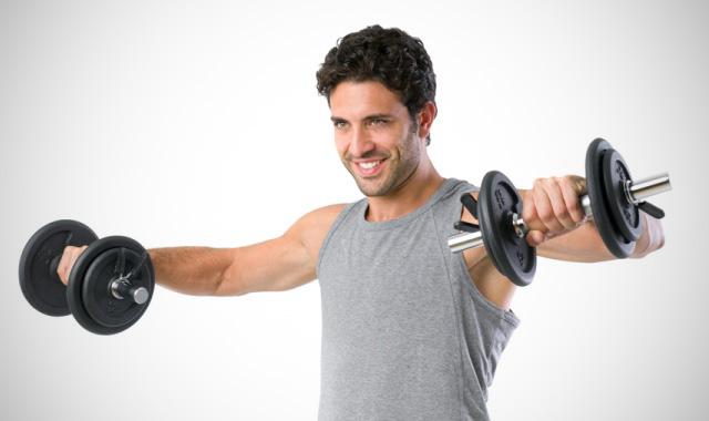 Упражнения на плечи с гантелями